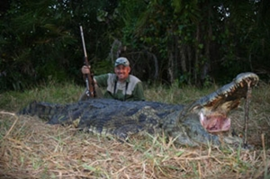 Mike Axlerad bagged this huge croc with one of our Mozambique outfitters.